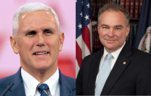 Profile pictures of Time Kaine and Mike Pence, October 2016.